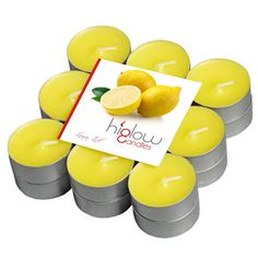 Yellow Scented Tealight Candles Lemon Zest - Set of 18 Tea Lights - Smokeless Drip Less Candles -- You can find more details by visiting the image link.