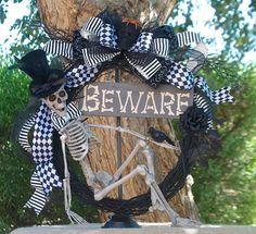 BEWARE Skeleton Halloween Wreath 24inch by SignsStuffnThings
