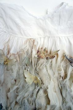 Tatting (detail) by louise richardson art Butterfly Dress, Butterfly Kisses, Butterfly Net, Butterfly House, Paper Butterflies, White Butterfly, Beautiful Butterflies, Textiles, Fabric Manipulation