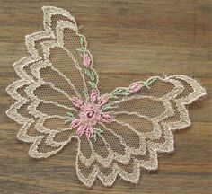 Vintage Beige Netting Butterfly Applique by TeapotsandTelephones, $1.50