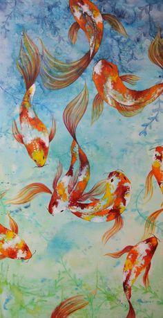 Large Koi Fish Acrylic Painting ORIGINAL 24'' by SecondThoughtArt