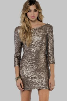 Long Sleeve Sequin Bodycon Dress White - Dresses - Party Dresses Gold  Sequin Dress 758fefbfb