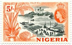 1953 issue. Palm-oil was the commodity forced on the slaving states of the Nigerian coast after the British decided to abolish slavery. Palm-oil was very profitable for the British traders who were protected by one-sided trade treaties. Any trouble from outraged natives and the Royal Navy would soon rain shells on the offending Delta town. In time the British traders cut out the coastal middle-men and went upriver to the producers. The Empire's gunboats soon followed. Learyworks.com…