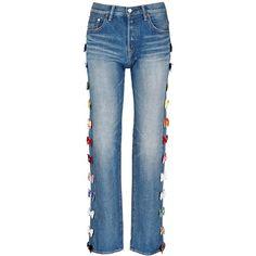 Tu Es Mon Trésor Velvet bow appliqué selvedge jeans ($840) ❤ liked on Polyvore featuring jeans, blue, velvet jeans, fancy jeans, embellish jeans, bow jeans and dressy jeans