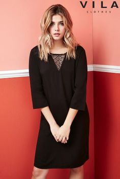 Buy Vila Lace Insert Shift Dress from Next Belgium