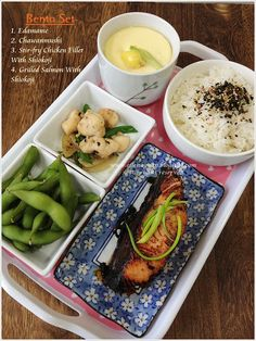 Bento Meal:- Chawanmushi, Grilled Salmon with Shiokoji and Stir-fry Chicken with Shiokoji