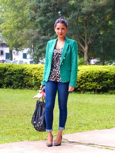 so many trends in one outfit... colored blazer, cropped pants, animal print, studded shoes