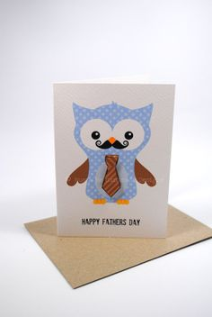 Happy Father's Day Card Owl Dad with Tie by MumandMeDesigns, $3.50