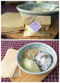 DIY Oatmeal Lavender Milk Tub Soak Recipe from My Own Ideas here.This recipe ingredients are Epsom salts, dried lavender, oatmeal, powdered milk and essential oil. There is also a link to really cheap large tea filters. This recipe would make a nice gift and you could include DIY sugar scrubs and spa treatmentsalong withLa Vie en Roses towel spa wrap here.