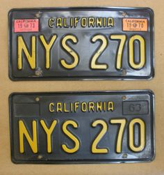 1963 California License Plate Pair - NYS270 Very Rare!!!! get your bid's in now!!!!! the price for this plate set I believe will go thru the roof!!!!!!