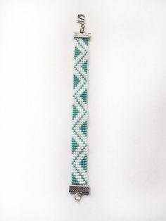 Turquoise and White Bracelet, Loom Beaded Bracelet, Chevron Pattern Bracelet, Bead Loom Bracelet, Hand Beaded Bracelet, Geometric Bracelet by MintTealCrafts on Etsy