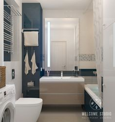 Casas de banho minimalistas por мастерская дизайна welcome studio minimalista One Room Apartment, Minimalist Apartment, Bathroom Interior, Small Bathroom, Design Projects, New Homes, House Design, Interior Design, Furniture