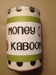 "Decided to use a set of plastic coins to make a kaboom game. All I did was hot glue some coins to popsicle sticks.  I also wrote ""Kaboom"" on about 5 sticks.    Then all of the sticks went face down into a pringles can that i cut down to size. The game is super easy to play. (There are lots of Kaboom games out there in bloggy land.) Kids play in groups of 2-4. When it's your turn you pull out a stick. You add the coin values and tell the amount. If your partner or group members agree with you,..."