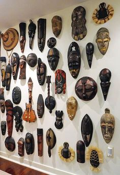 Robert Hill's collection of African masks in his Trimont condo (Pittsburgh Post-Gazette // Photo: Bob Donaldson) African Living Rooms, African Room, African Theme, African Masks, African Style, African Interior Design, African Design, Afrique Art, Art Tribal
