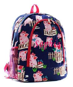 01921bda06 Personalized Happy PIg Town Pink School Bag Backpack Monogram Embroidery  Name  NGil  Backpack Tote