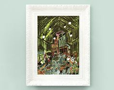 Vintage Madeline Print. Original French Book Plate Illustration 6x8 inches. Marketplace France Paris Ludwig Bemelmans