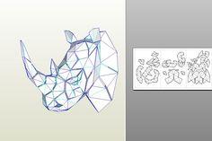 Papercrafr rhino head for wall decoration. Buy DIY-template on etsy.com/shop/WastePaperHead