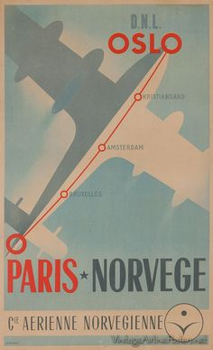 """Paris - Norvege, """"Cie Arienne Norvegienne"""" - Original Vintage Travel Poster.17"""