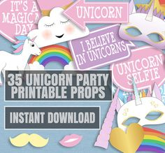35 Unicorn Themed Party Photo Booth Props door YouGrewPrintables
