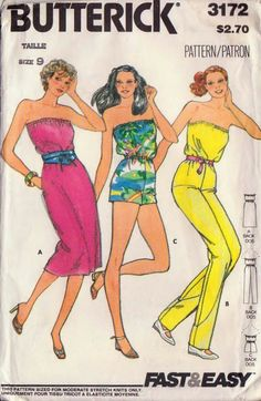 Disco Fashion Butterick Sewing Pattern Strapless Jumpsuit Jumper Dress One Piece Shorts from Adele Bee Ann Sewing Patterns. Saved to Vintage Sewing. Strapless Jumpsuit, Jumpsuit Dress, Jumper Dress, Disco Fashion, Retro Fashion, Junior Dresses, Dress First, Vintage Sewing Patterns, Jumpsuits For Women