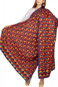 Red-Blue & Multi-colorerd Cotton Phulkari Bagh Dupatta