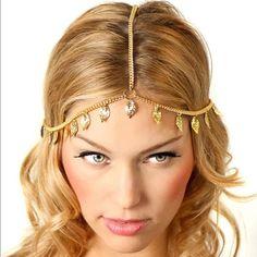 Leaf Head Piece Pretty gold toned zinc alloy head piece. New in package. Jewelry