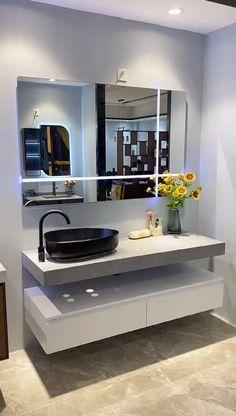 Wc Bathroom, Modern Bathroom Cabinets, Bathroom Layout, Modern Bathroom Design, Bathroom Interior Design, Bathroom Storage, Bathroom Lighting, Kitchen Design, Lit Mirror