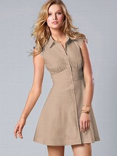 A mainstay of understated chic. This Sheer-panel Shirtdress from Victoria's Secret features sheer inserts in front and back for a flirty effect. With a flattering fit-and-flare shape, it's sure to be a week-to-weekend favorite.