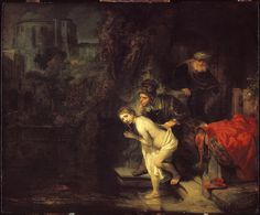 Susanna and the Elders is a 1647 painting by Rembrandt, now in the Gemaldegalerie in Berlin. It is an oil on panel painting by the Dutch painter Rembrandt and represents the story of Susanna from the Bible. The scene shows the moment when Susanna is surprised at the moment she enters her bath.