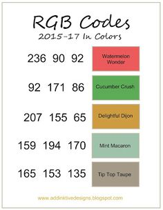 addINKtive designs: RGB Codes for SU's 2015-2017 In-Colors