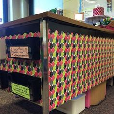 Use contact paper to give yourself a snazzier desk. | 35 Cheap And Ingenious Ways To Have The Best Classroom Ever