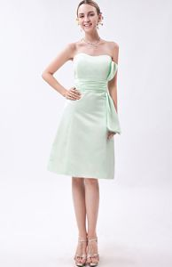 Strapless Taffeta Ruched Informal Bridesmaid Dresses Apple Green
