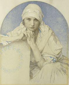 Alphonse Mucha - Portrait of Muchas daughter Jaroslava (Jarca)