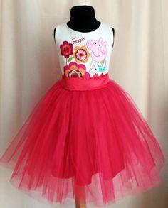 Peppa Pig Dress Birthday Dress Tulle dress Peppa por SugarShopDress
