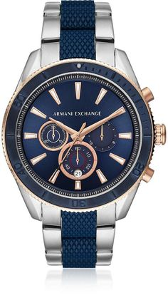 008d6b43fdc Armani Exchange Enzo Blue Dial and Silver Tone Men s Chronograph Watch