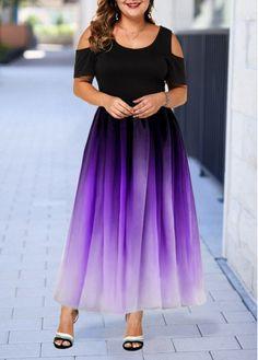 Plus Size Ombre Purple Cold Shoulder Maxi Dress Plus Size Cold Shoulder Short Sleeve Gradient Dress Plus Size Maxi Dresses, Dresses For Sale, Spandex Dress, Vestidos Vintage, Patchwork Dress, The Dress, Dresses Online, Plus Size Fashion, Smoking