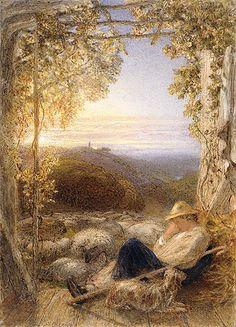 Sleeping Shepherd Morning, 1857, Samuel Palmer. English Romantic Painter (1805 - 1881)