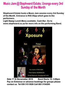 Stephward Estate is launching every 3rd Sunday of the Month a Music Jam  afternoon  Come relax and enjoy live Bands. A cash Bar and Food Menu is available. Cover charge entry of R50 per person that goes to the Band. All welcome!! Please help support this and let your friends know!! Next Music Jam Sunday 17th November 2019  12am-3.00pm Music Jam, Live Band, Lunch Menu, November 2019, Food Menu, South Africa, Coast, Bands, Sunday