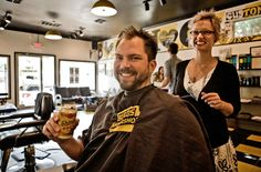 Birds Barbershop - a haircut and a free can of Lone Star? Yes....