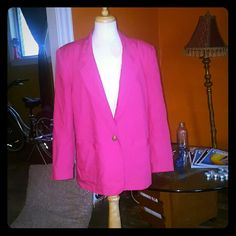 Hot pink vintage blazer Plus size, never worn, long sleeve, one button closure, three mock button on sleeves Jackets & Coats Blazers