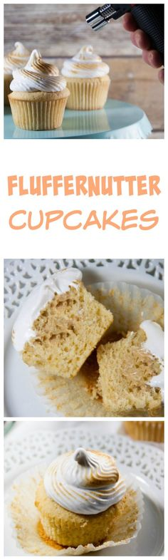 Fluffernutter cupcakes- a peanut butter cupcake with a peanut butter mousse filling and a toasted marshamallow frosting! It's your favorite childhood sandwich in cupcake form! Gluten Free Cupcakes, Fun Cupcakes, Cupcake Cakes, Cupcake Recipes, Baking Recipes, Dessert Recipes, Pastry Recipes, Fun Desserts, Delicious Desserts
