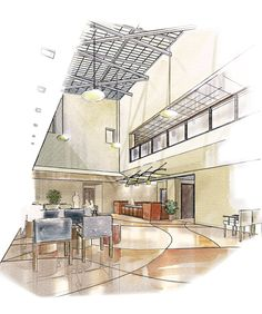 Joseph Calabrese Srchitectural Illustration - Clinic Waiting Room Randolph Air Force Base, Texas (Watercolor)