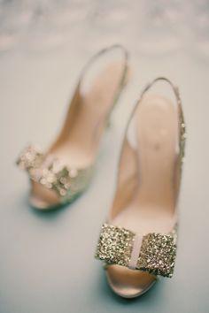 Shoe Inspiration I Gold Sparkled Kate Spade Heels  Repin via Ruffled #wedding #bridalshoes #katespade #heels #bow #sparkle