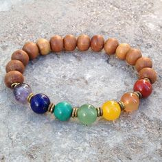 Sandalwood and multitone gemstone chakra mala bracelet with African trade beads – Lovepray jewelry