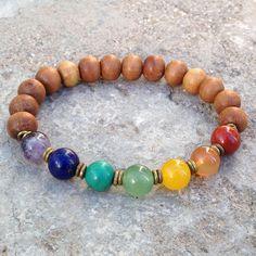 Sandalwood and multitone gemstone chakra mala bracelet with African trade beads – Lovepray jewelry