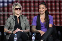 """Mikey Koffman TV personalities Mikey Koffman and Whitney Mixter speak onstage during """"The Real L Word"""" panel during the 2010 Summer TCA Tour..."""