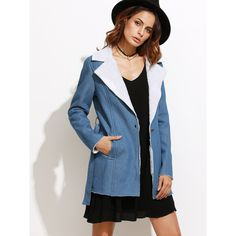 SheIn(sheinside) Blue Fleece Lined Belted Chambray Coat (950 PHP) ❤ liked on Polyvore featuring outerwear, coats, belted coat, colorblock coat, long belted coat, blue long coat and long sleeve coat