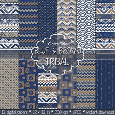 "Tribal digital paper: ""BLUE & BROWN TRIBAL"" with tribal patterns and tribal backgrounds, arrows, feathers, chevrons in blue and brown"
