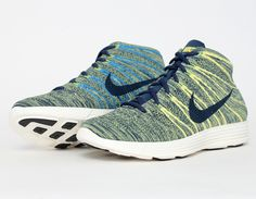 #Nike Lunar Flyknit Chukka Bleu Yellow