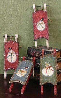 primitive snowmen wooden   Primitive Wooden Snowman Sled - Christmas Holiday Sale - Sales